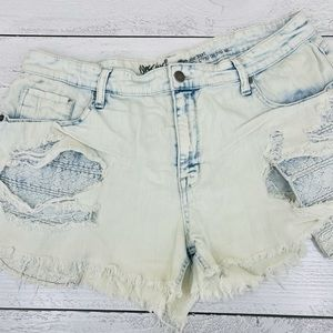 Mossimo High rise distressed light wash shorts
